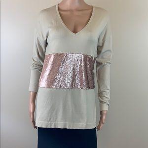 Lauren Vidal beige sweater with pink sequins NWT S